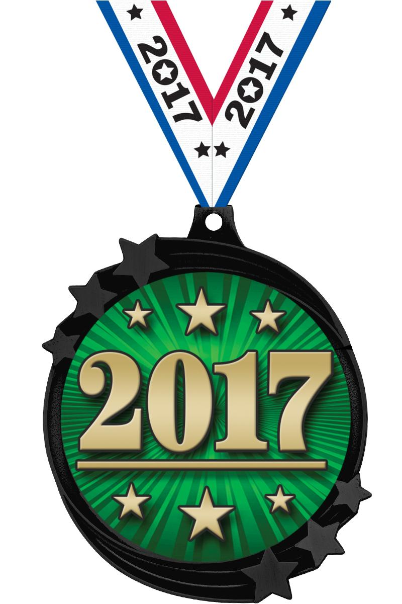 "2 1/2"" Black Nickel Shooting Star Medal"