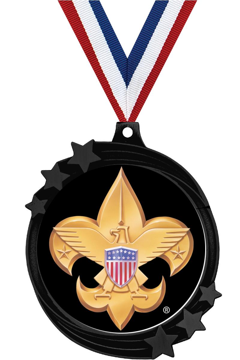 "2 1/2"" SHOOTING STAR MEDAL BK"
