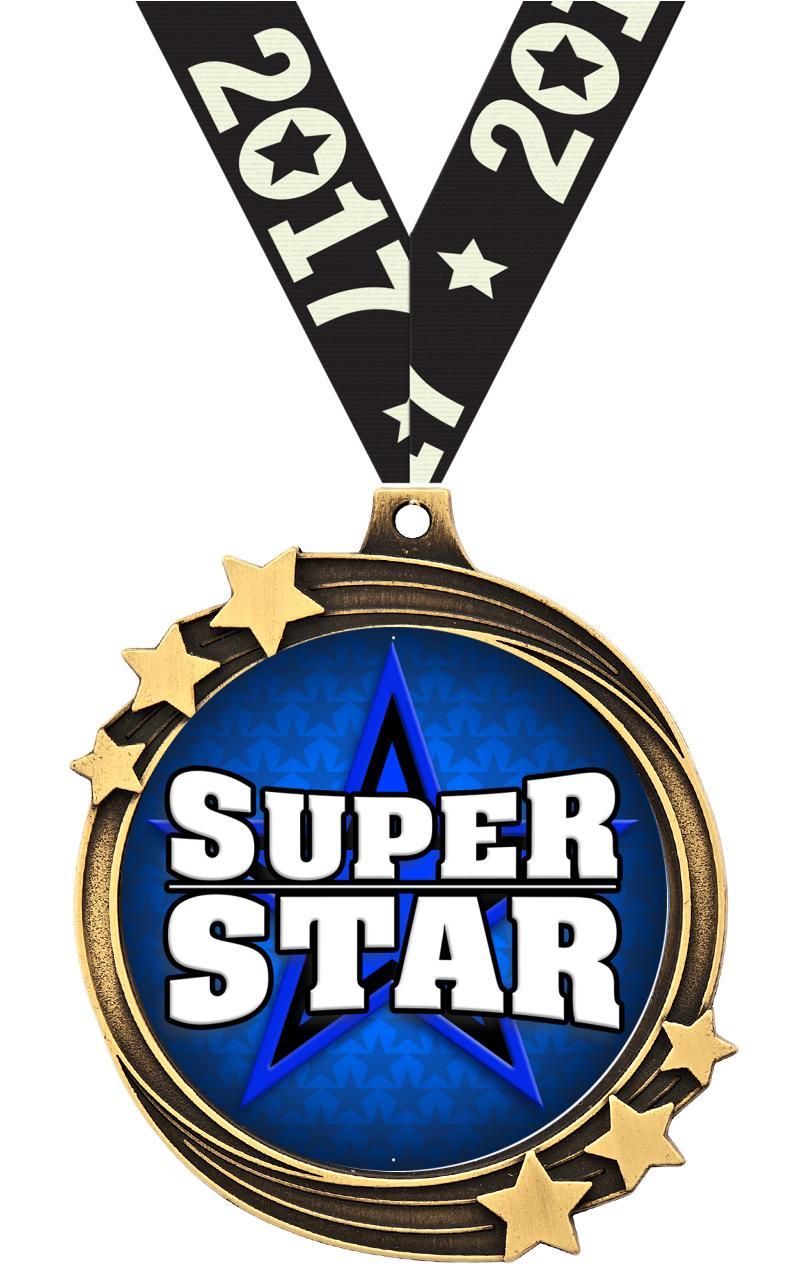 "2 1/2"" Gold Shooting Star Medal"