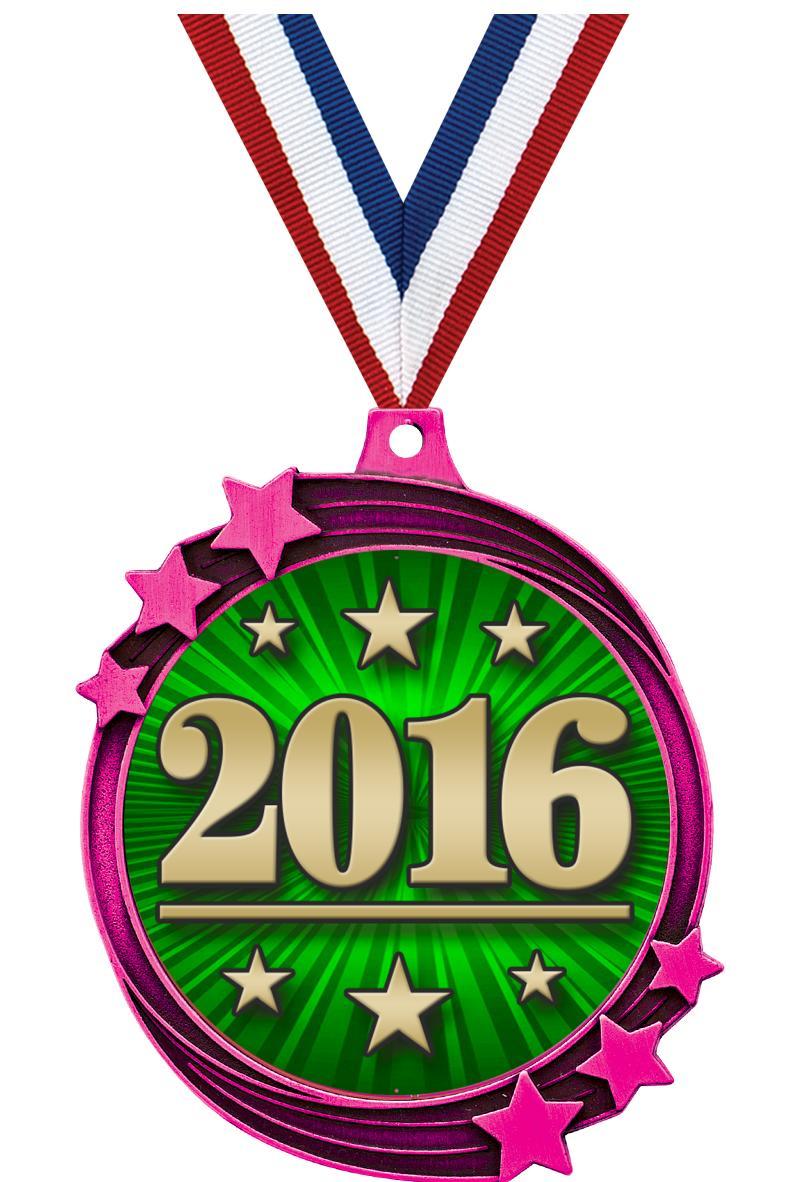 """2 1/2"""" Pink Metallic Shooting Star Medal"""