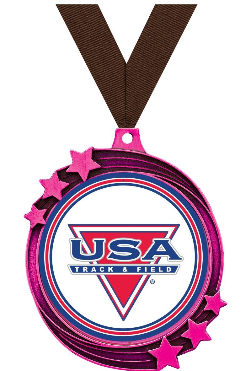 "2 1/2"" Pink Metallic Shooting Star Medal"
