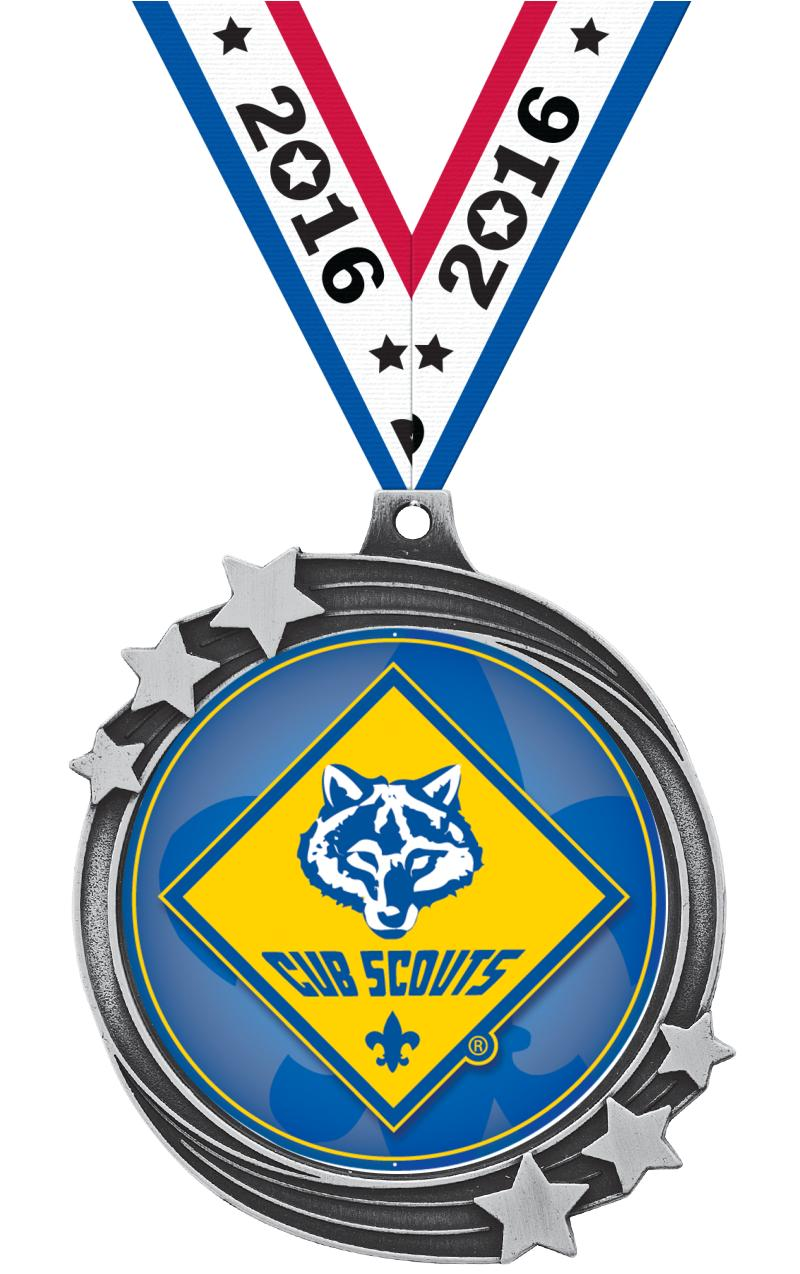"2 1/2"" SHOOTING STAR MEDAL SLV"