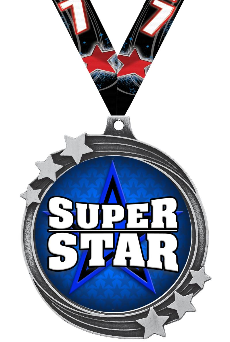 "2 1/2"" Silver Shooting Star Medal"