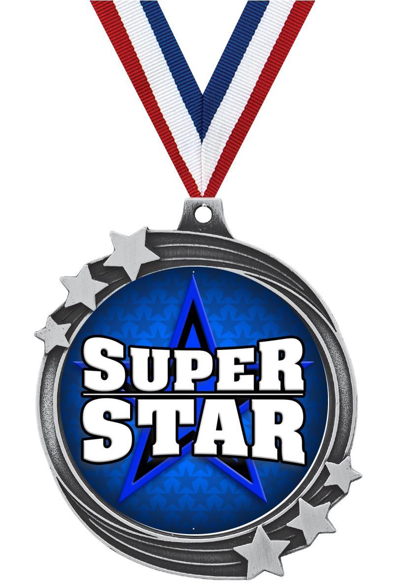 "2 1/2"" Silver Shooting Star Medal"