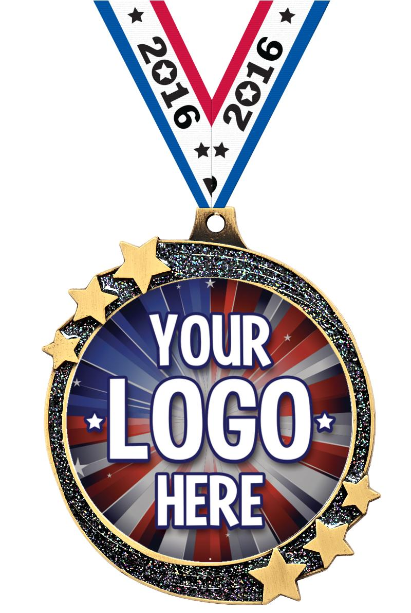 """2 1/2"""" Black Glitter Shooting Star Insert Medal"""