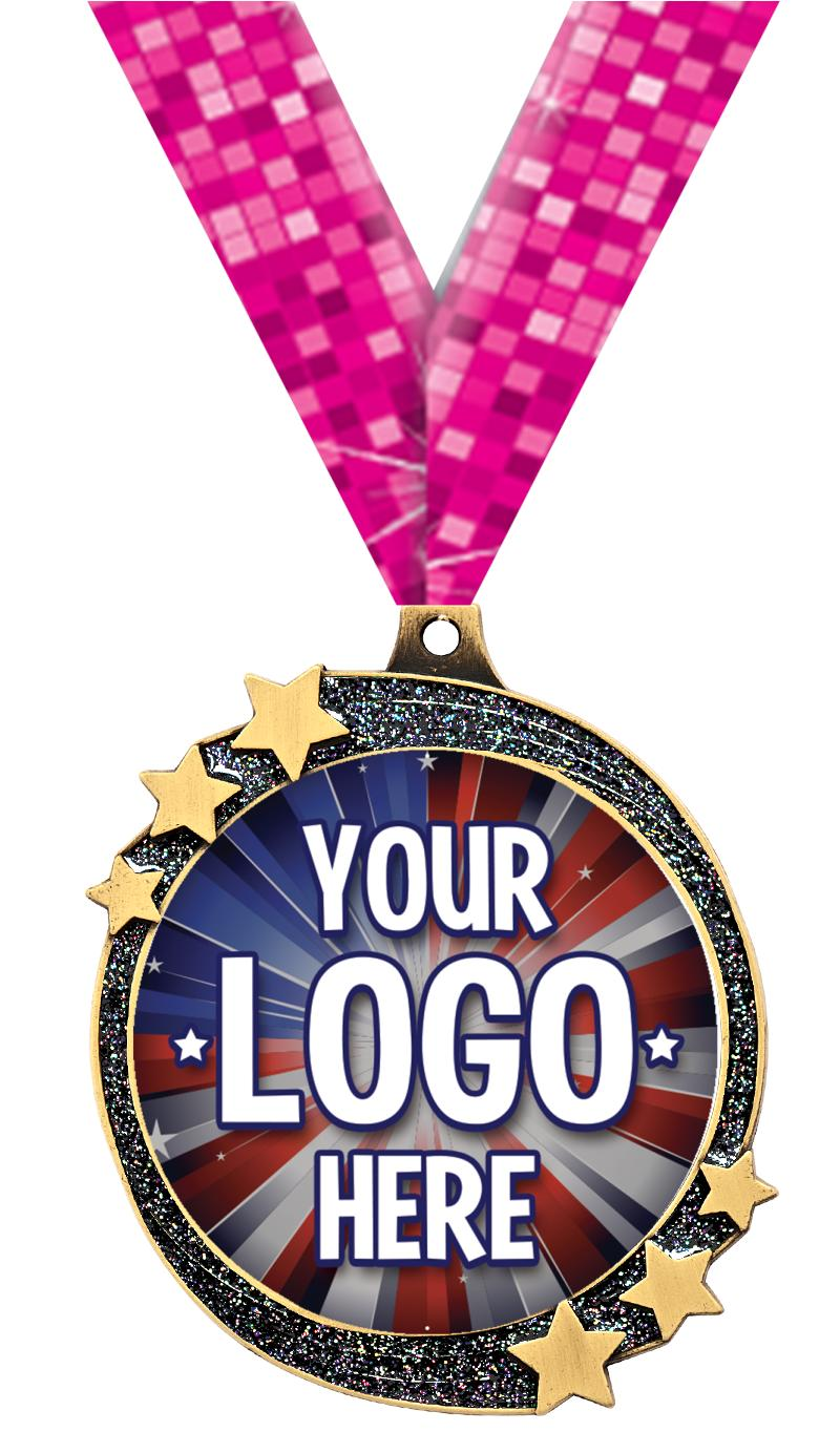 "2 1/2"" Black Glitter Shooting Star Insert Medal"