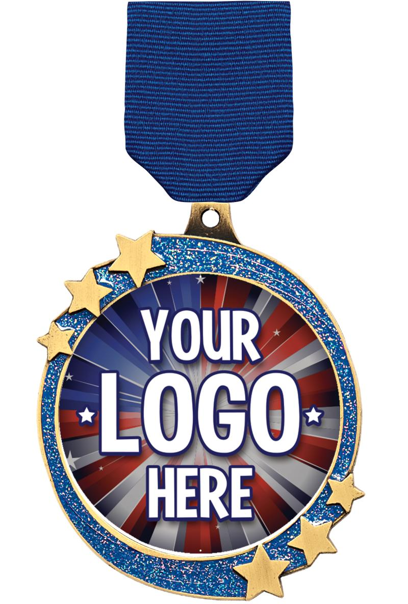 "2 1/2"" Blue Glitter Shooting Star Insert Medal"