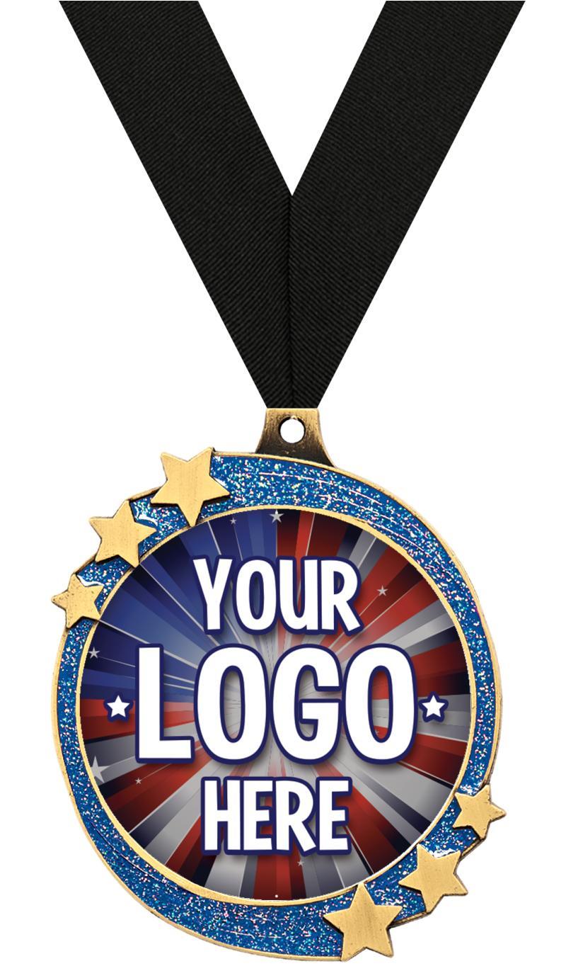 """2 1/2"""" Blue Glitter Shooting Star Insert Medal"""
