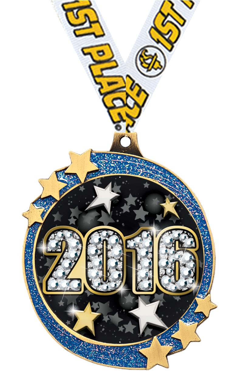 "2 1/2"" Blue Glitter Shooting Star Medal"