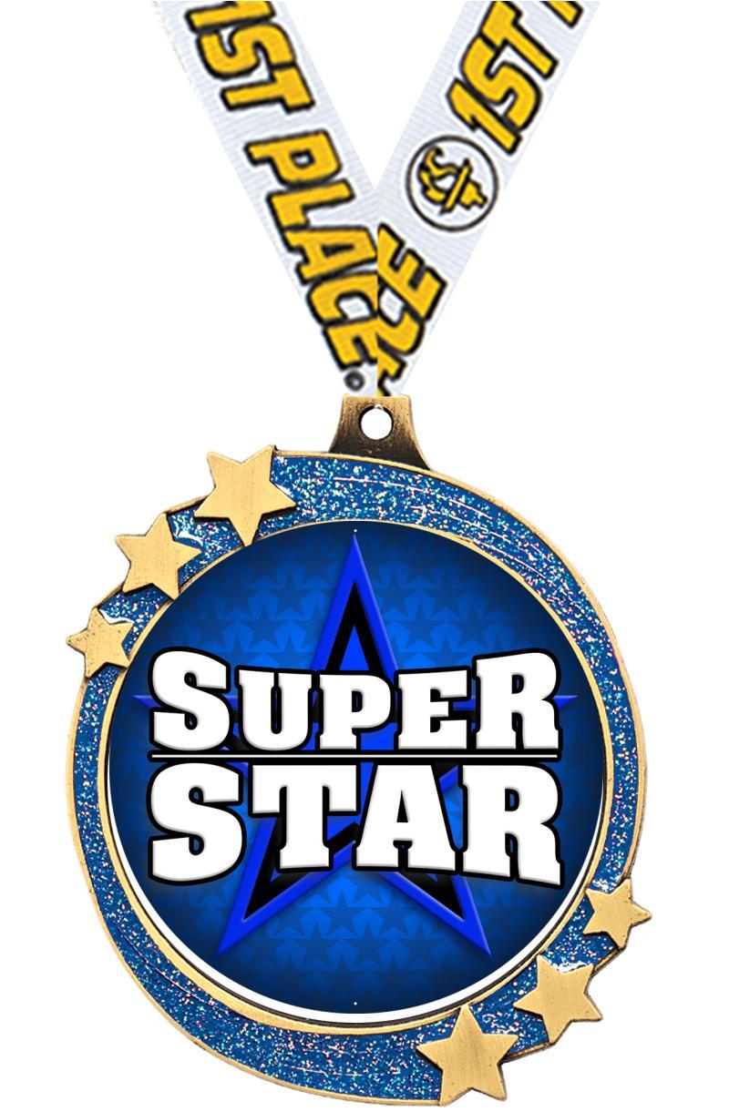 """2 1/2"""" Blue Glitter Shooting Star Medal"""
