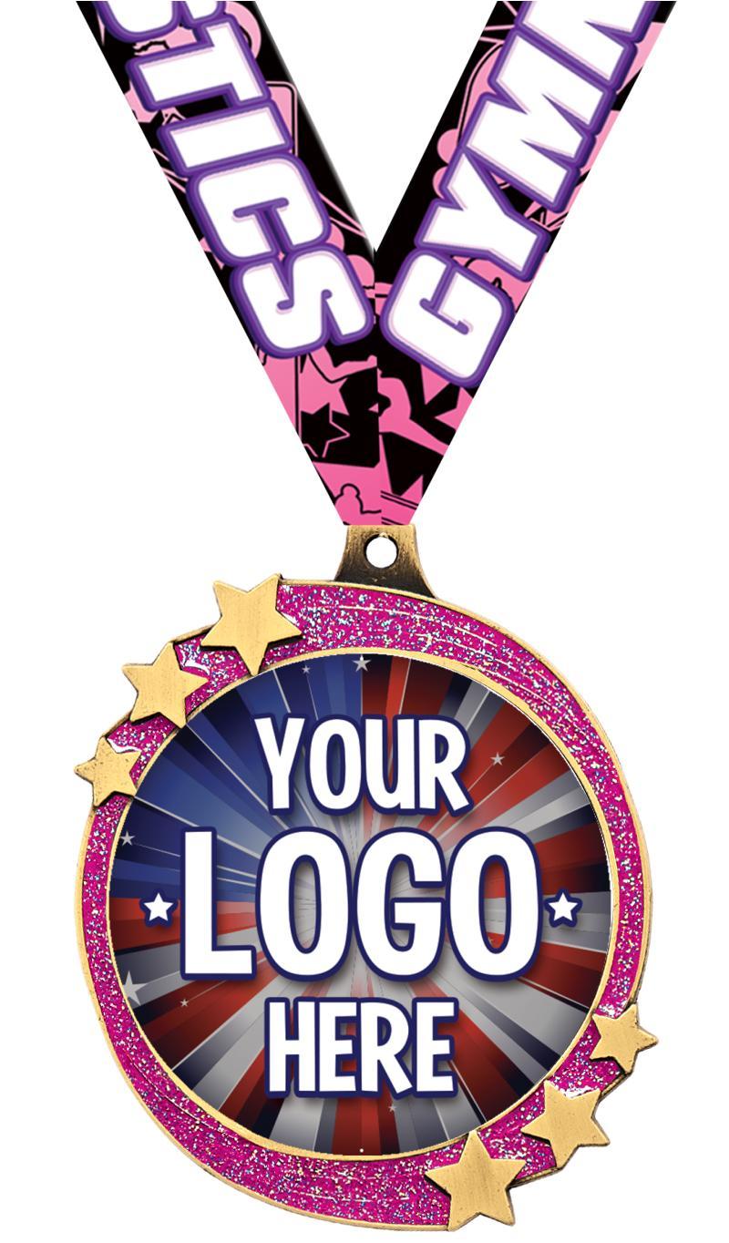 "2 1/2"" Pink Glitter Shooting Star Insert Medal"