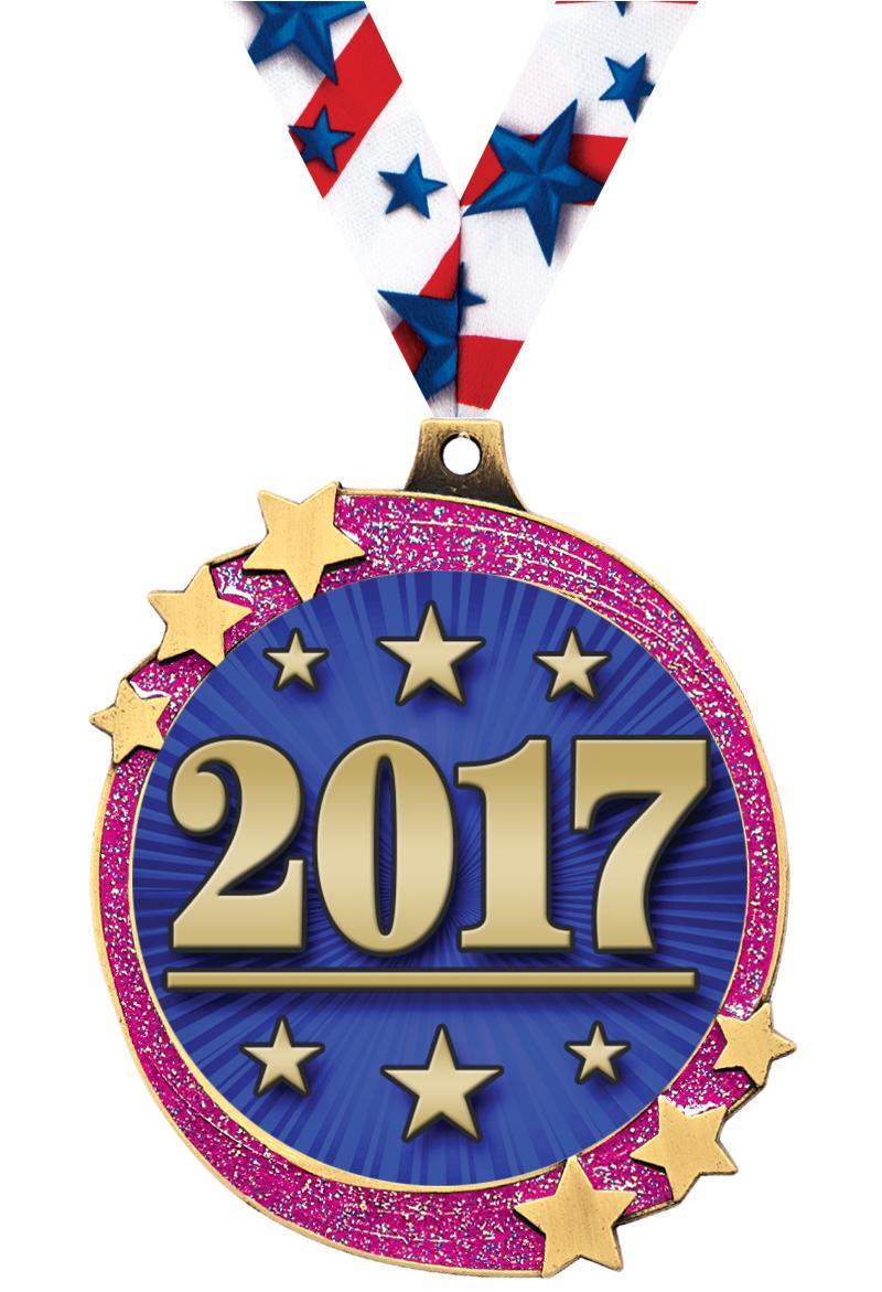 "2 1/2"" Pink Glitter Shooting Star Medal"