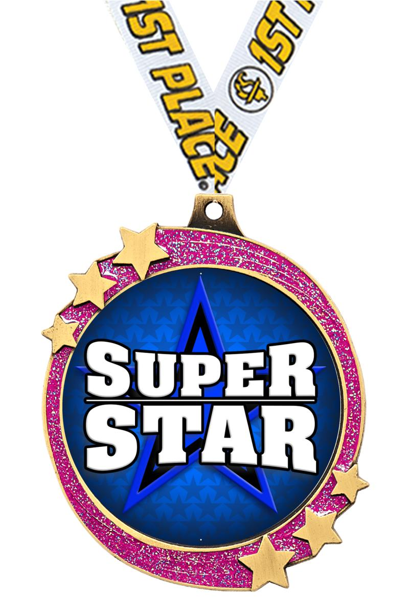 "2 1/2"" Pink Glitter Shooting Star Medal"