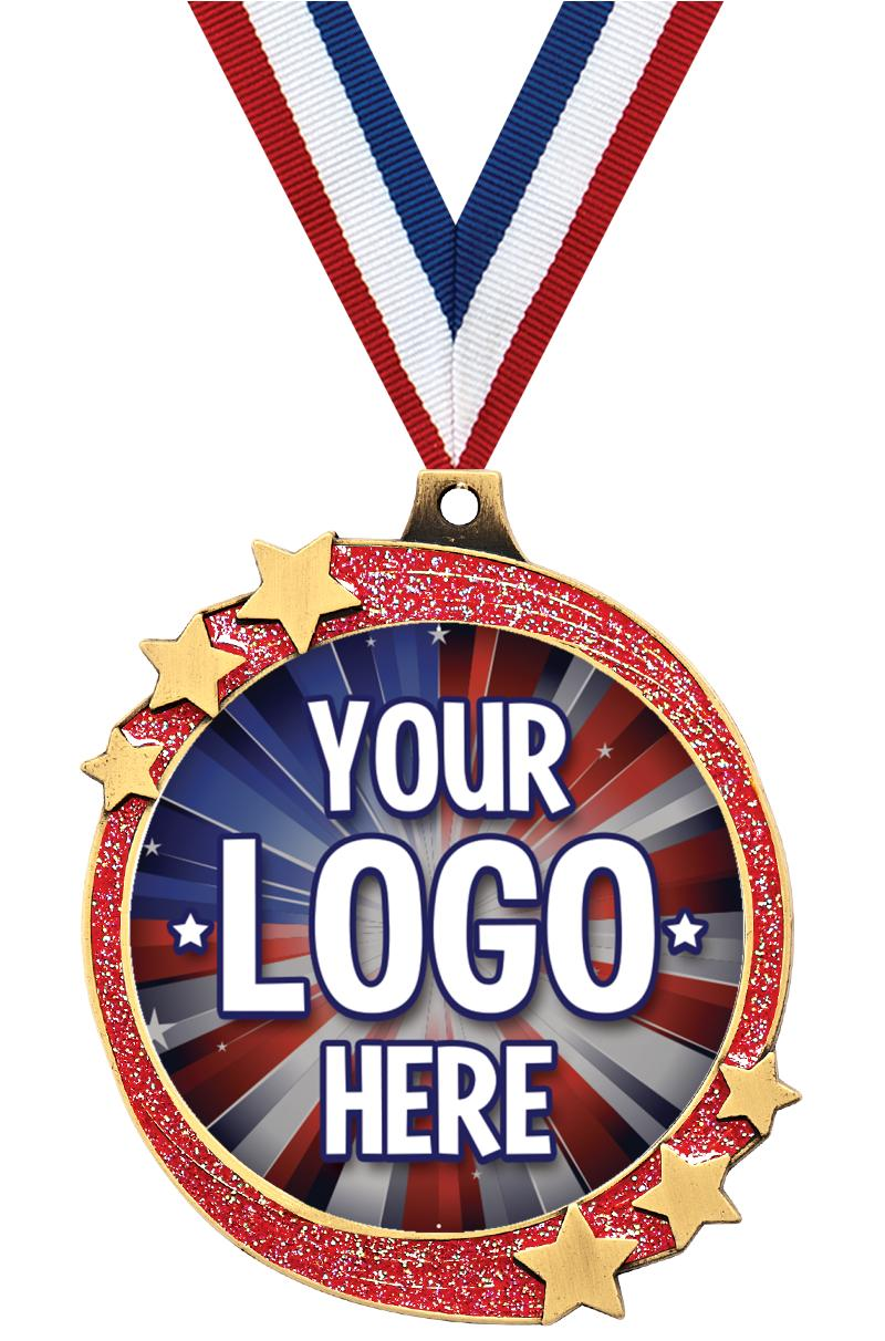 "2 1/2"" Red Glitter Shooting Star Insert Medal"