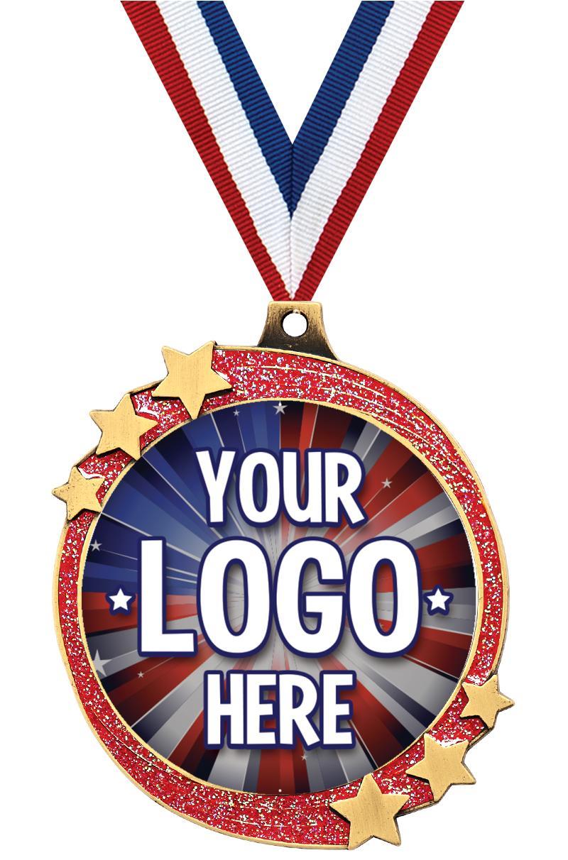 """2 1/2"""" Red Glitter Shooting Star Insert Medal"""