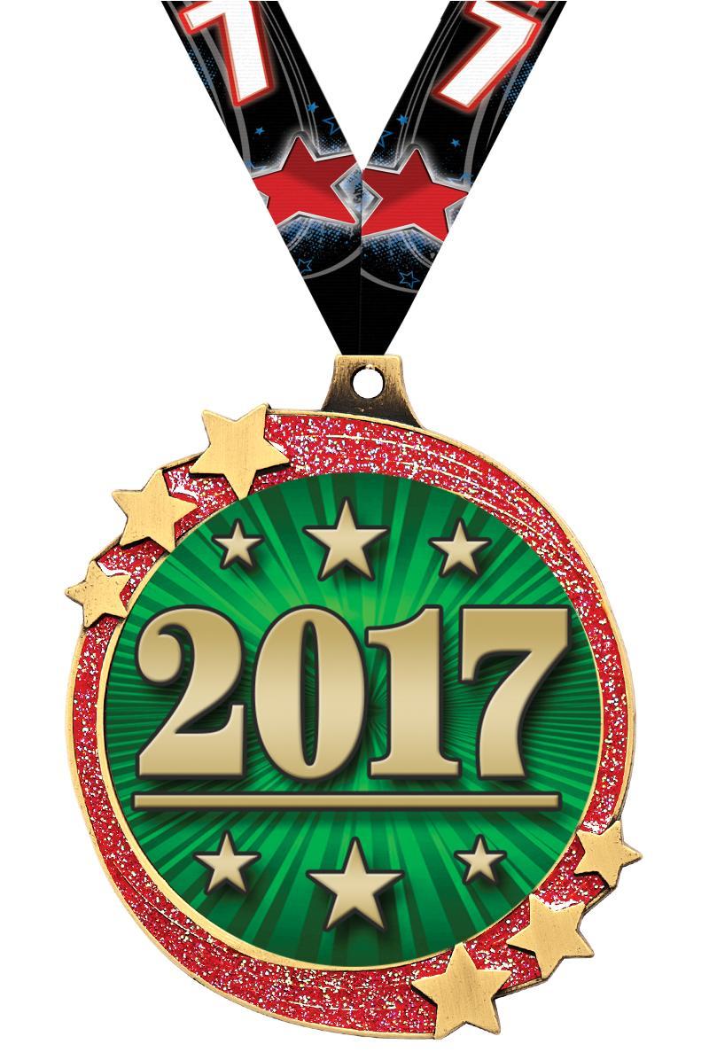 """2 1/2"""" Red Glitter Shooting Star Medal"""