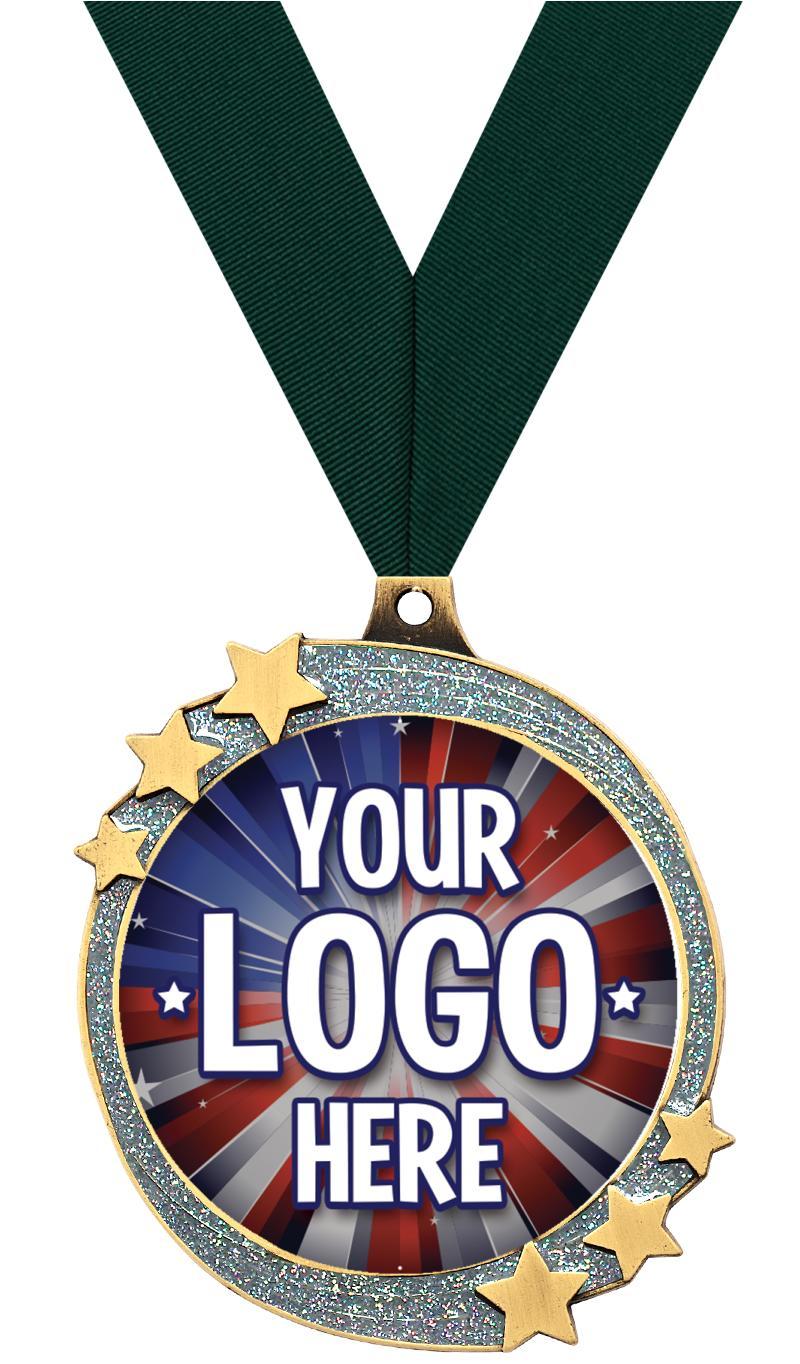 "2 1/2"" Silver Glitter Shooting Star Insert Medal"
