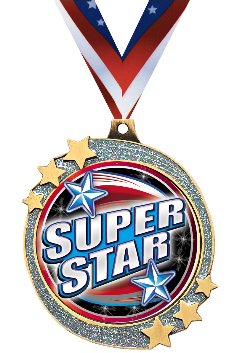 "2 1/2"" Silver Glitter Shooting Star Medal"