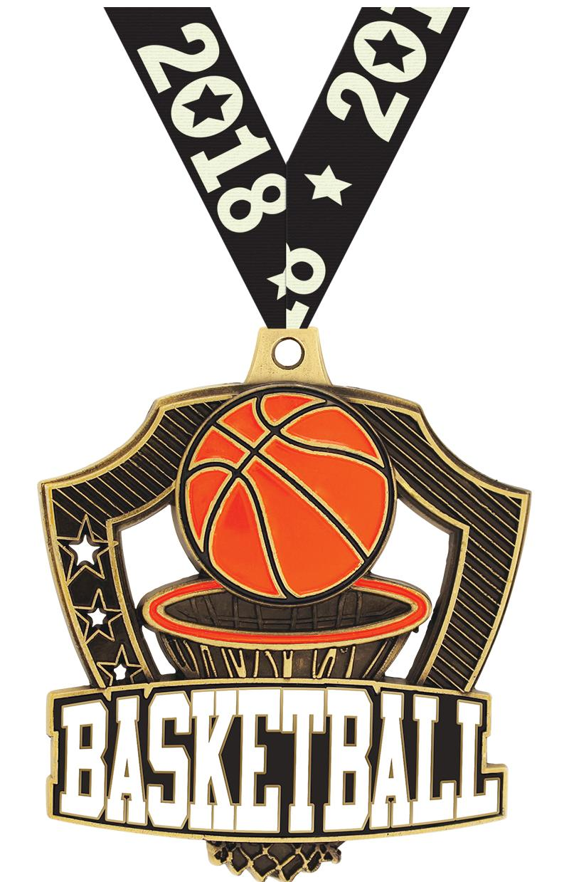 "2 1/4"" Basketball Shieldz Medals"