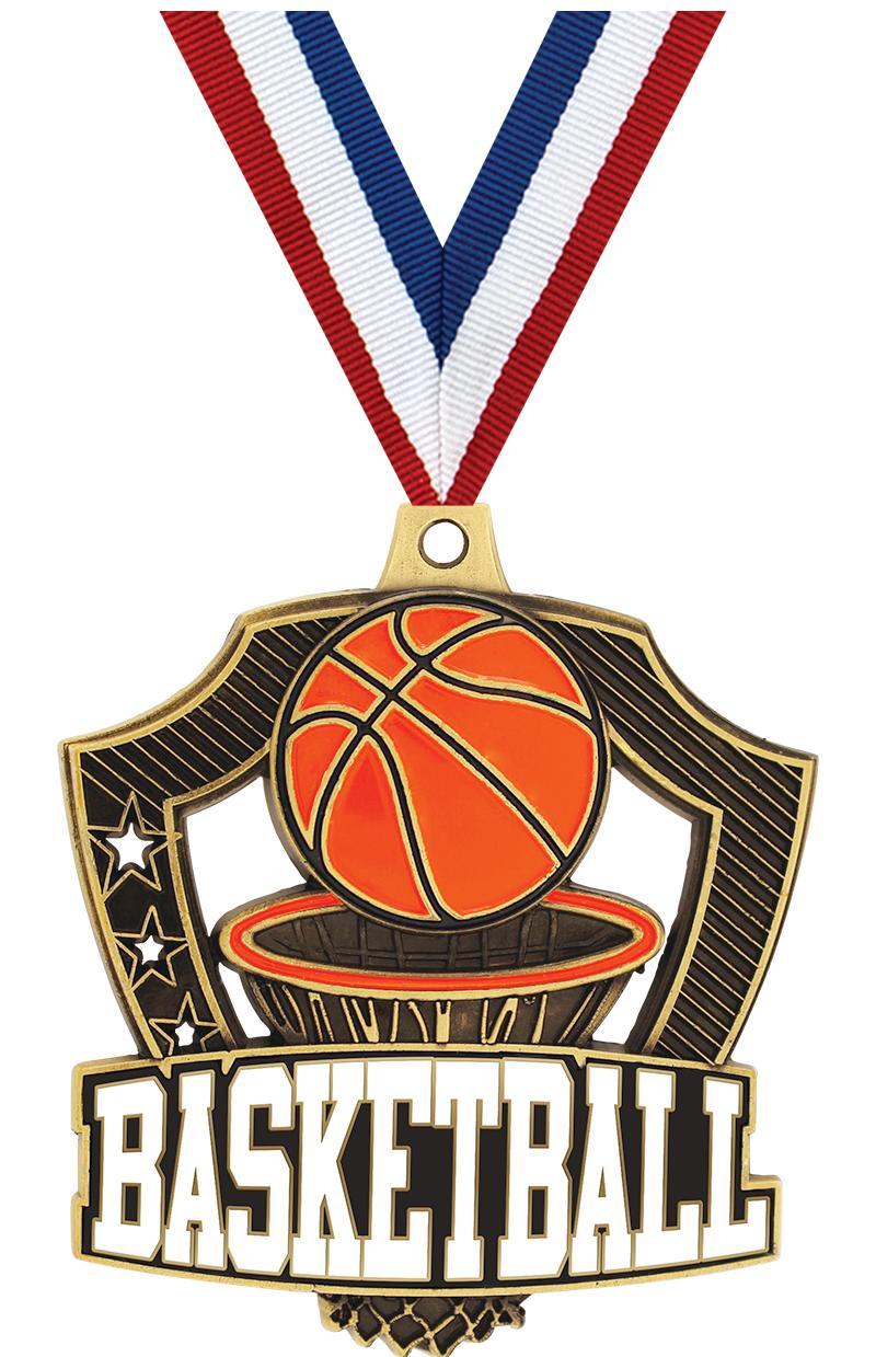 "2 1/4"" Basketball Shieldz Medals"