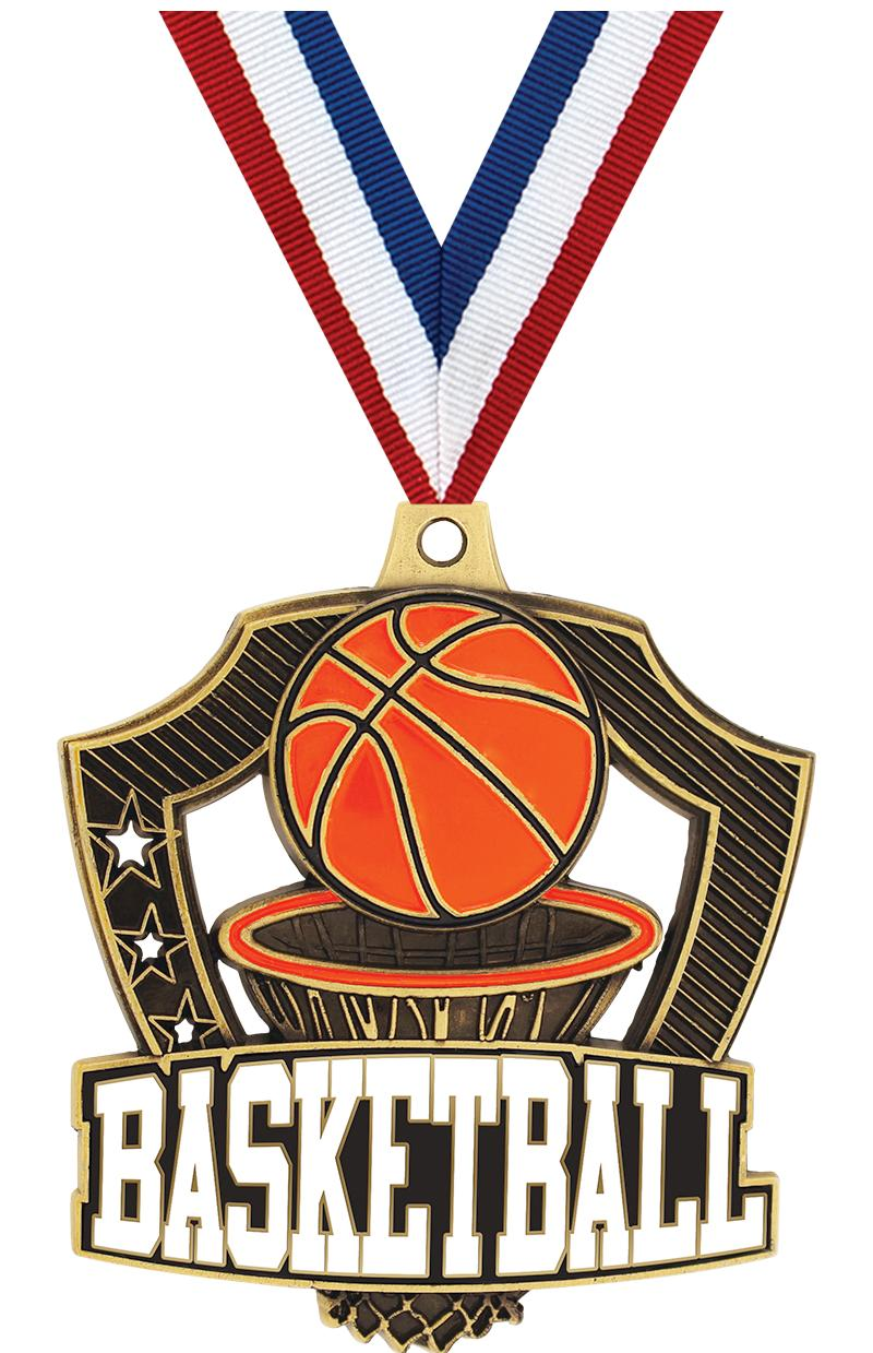 "2.25"" SHIELDZ BASKETBALL GLD"