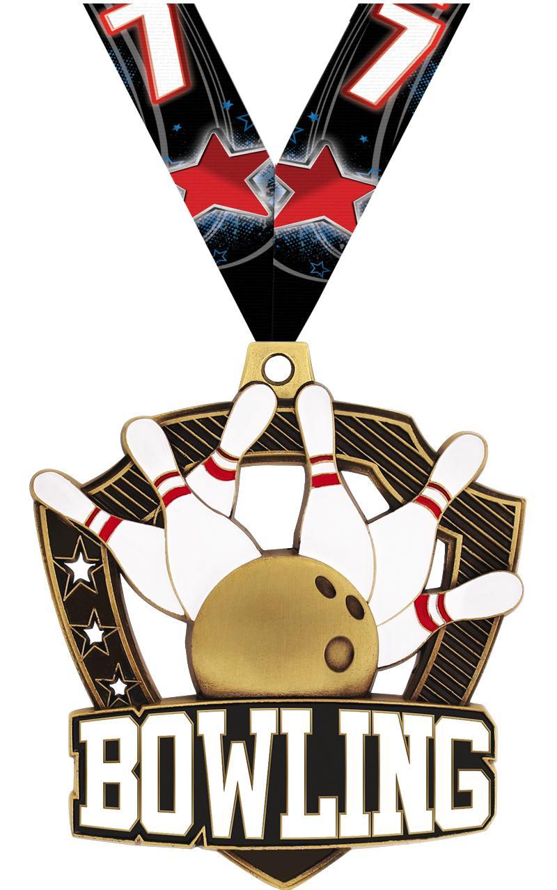 "2 1/4"" Bowling Shieldz Medals"