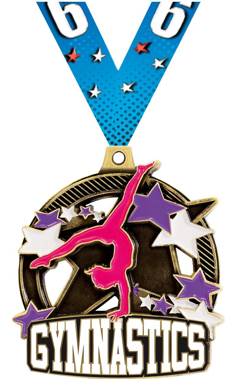 "2 1/4"" Female Gym Shieldz Medals"