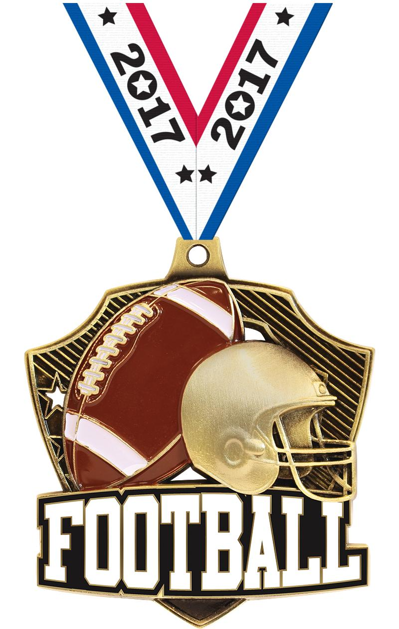 "2 1/4"" Football Shieldz Medals"