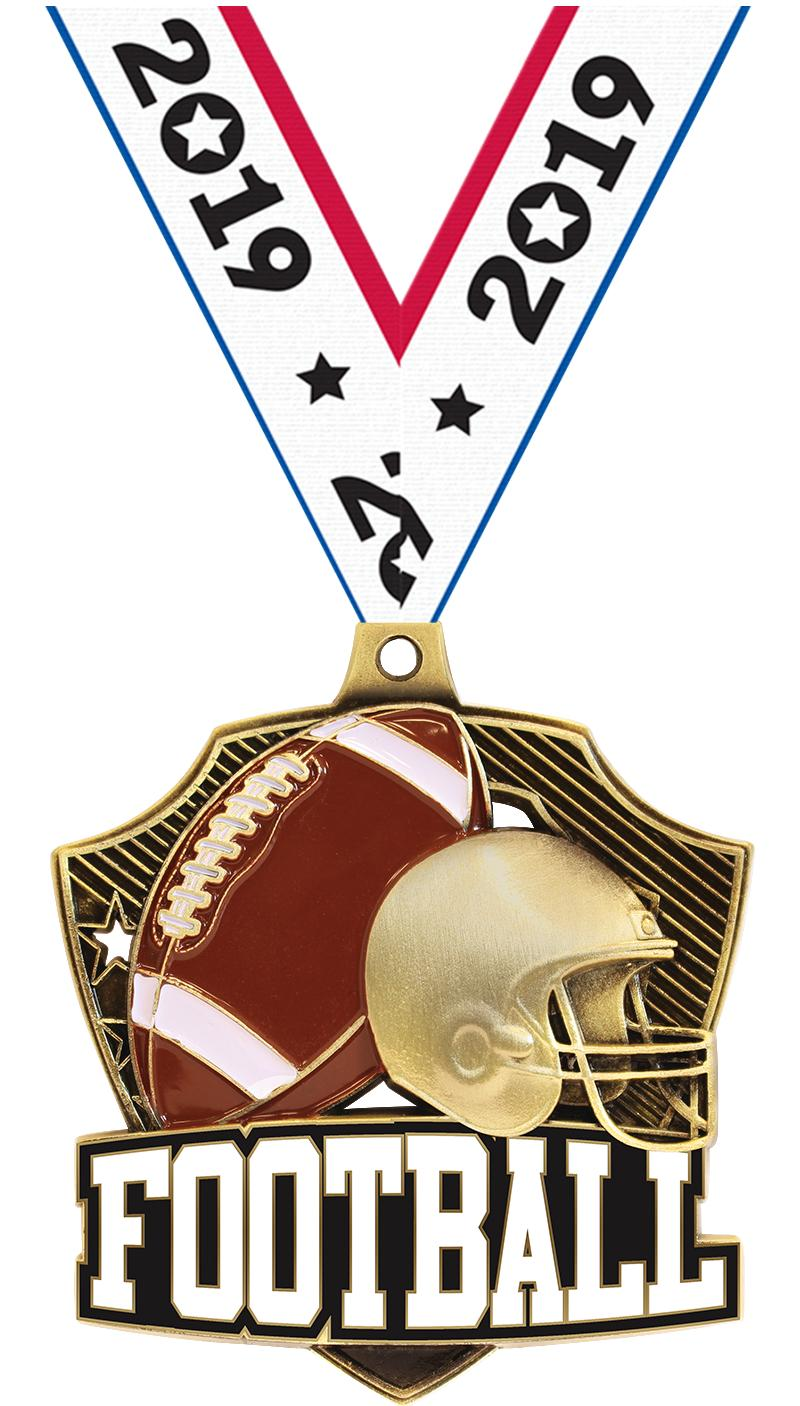 "2.25"" SHIELDZ FOOTBALL GLD"