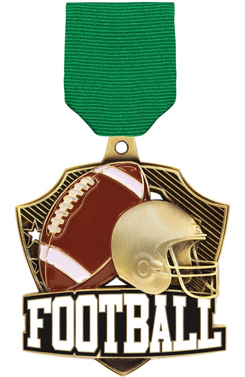 "2 1/4"" Football Shieldz Medals"