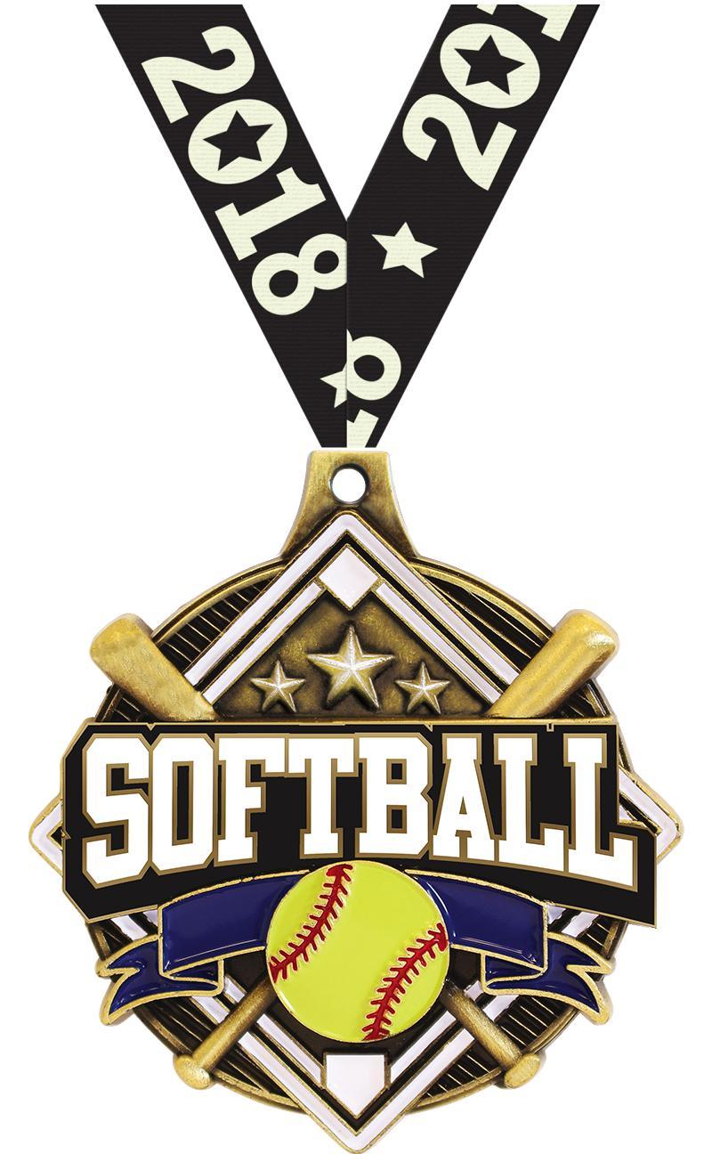 "2 1/4"" Softball Shieldz Medals"