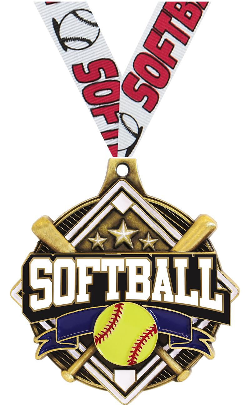 "2 1/4"" Softball Shieldz Medals"