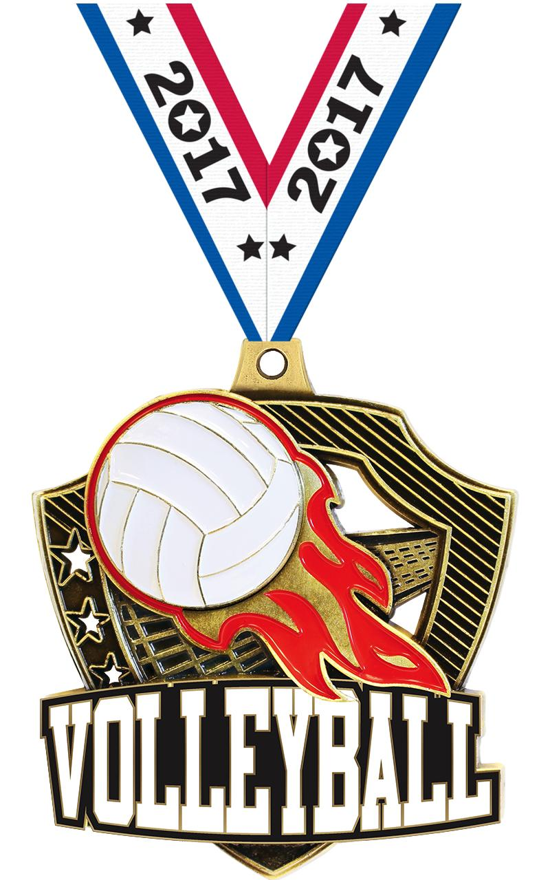 "2 1/4"" Volleyball Shieldz Medals"