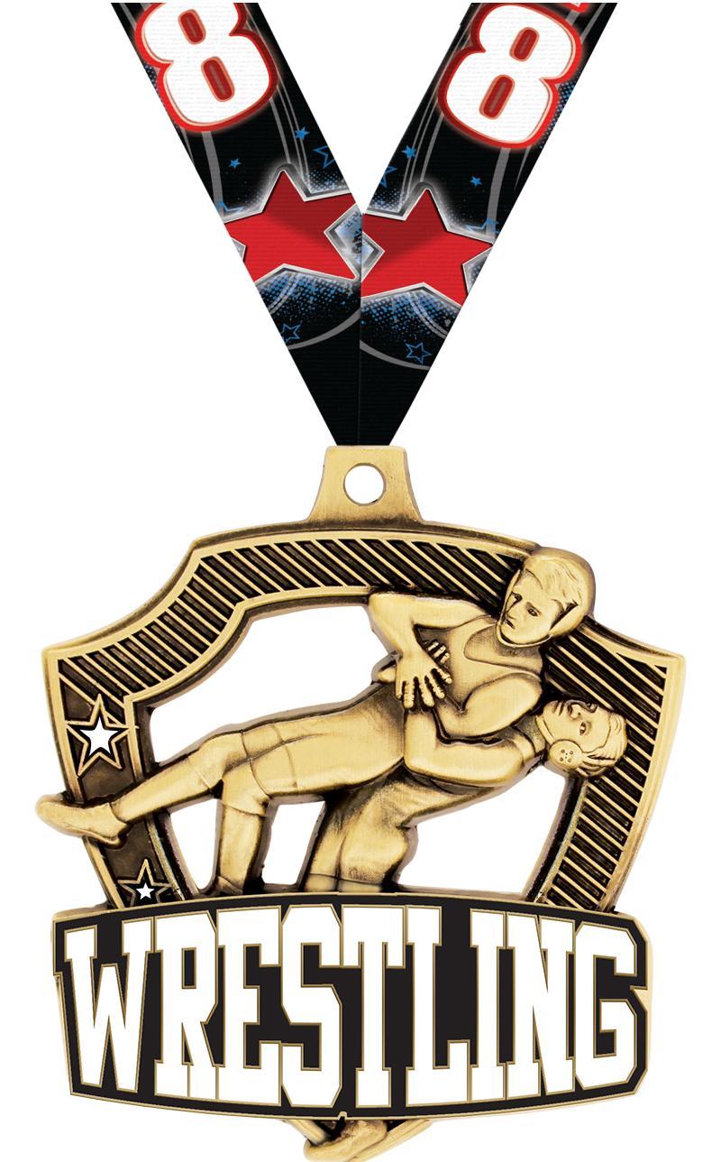 "2 1/4"" Wrestling Shieldz Medals"