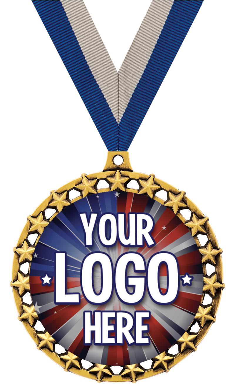 """2 1/2"""" Galaxy Star Insert Medal"""
