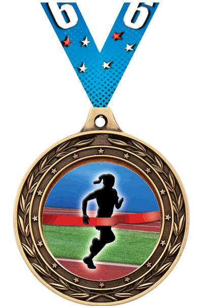 """2"""" Finish Line Female Victor Dual Medal"""