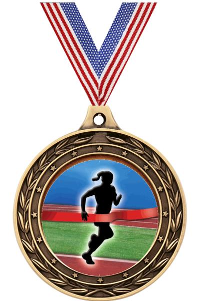 "2"" Finish Line Female Victor Dual Medal"