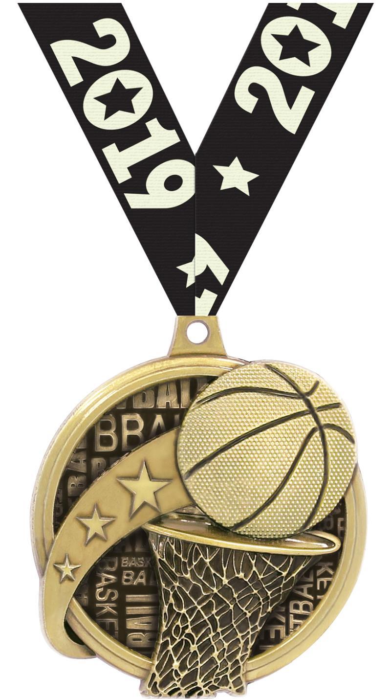 "2"" KUDOS BASKETBALL GOLD MDL"