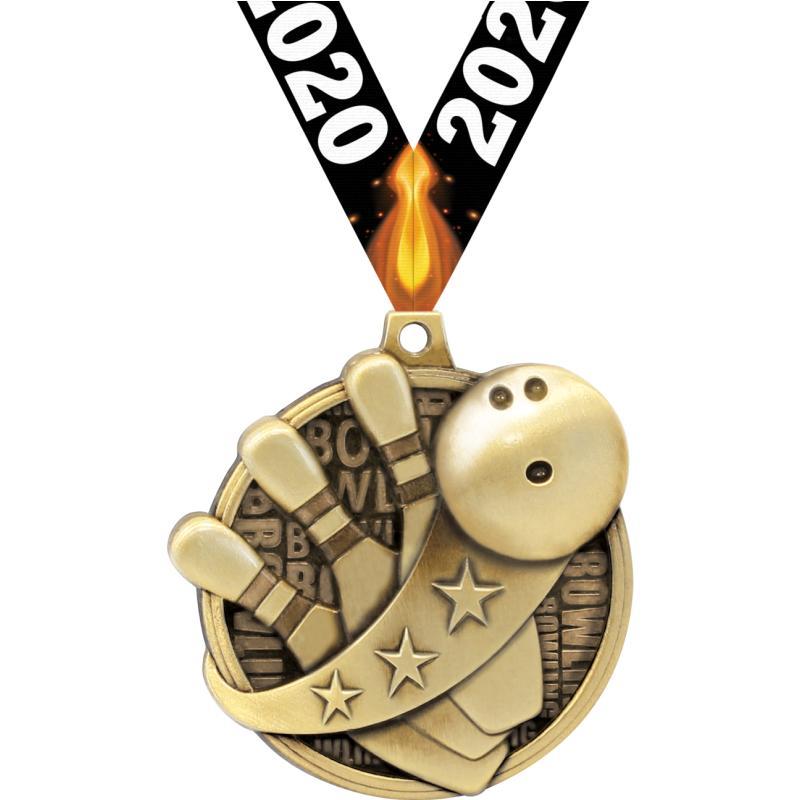 "2"" KUDOS BOWLING GOLD MEDAL"