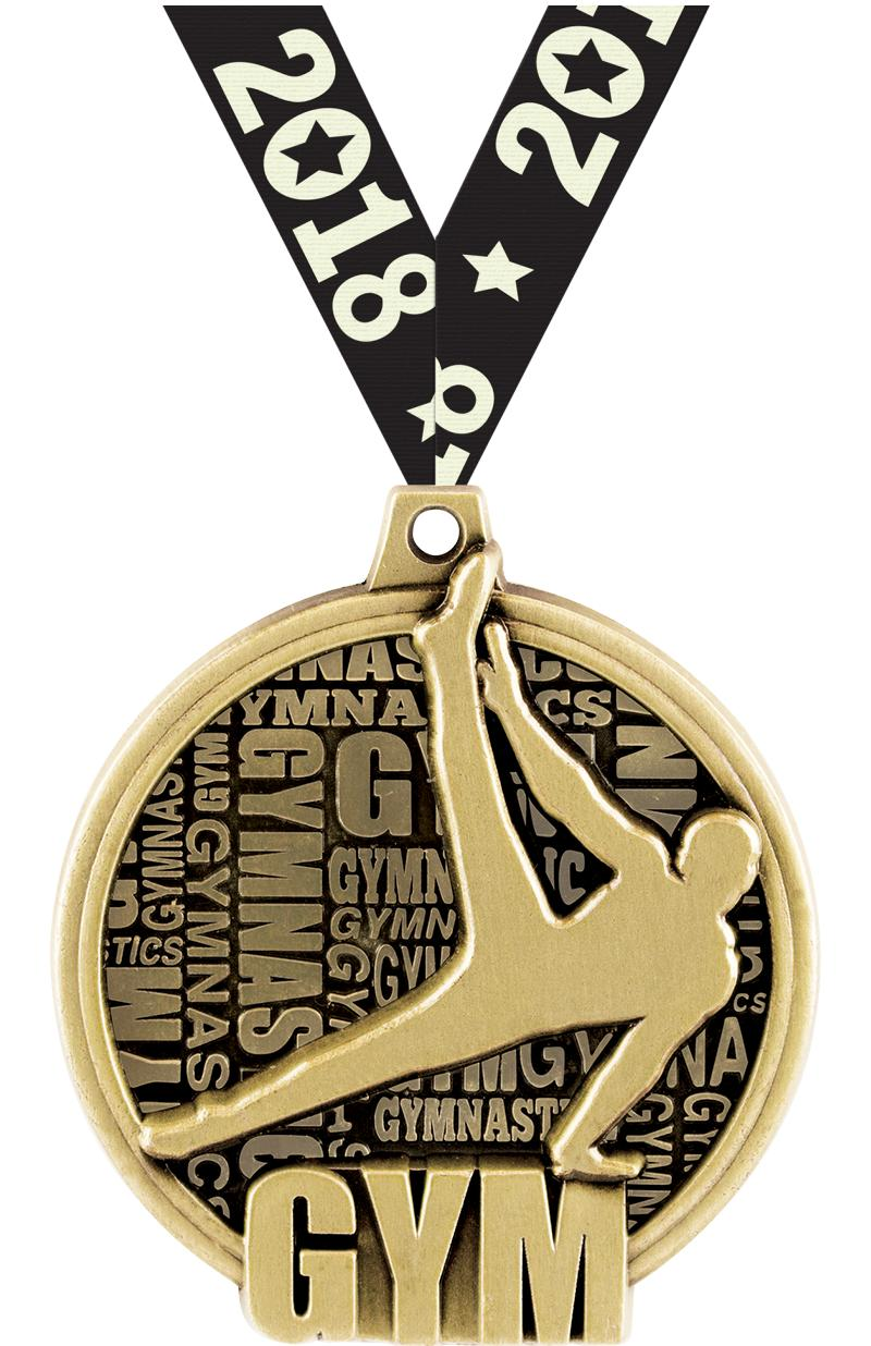 "2"" KUDOS MALE GYM MEDAL GOLD"