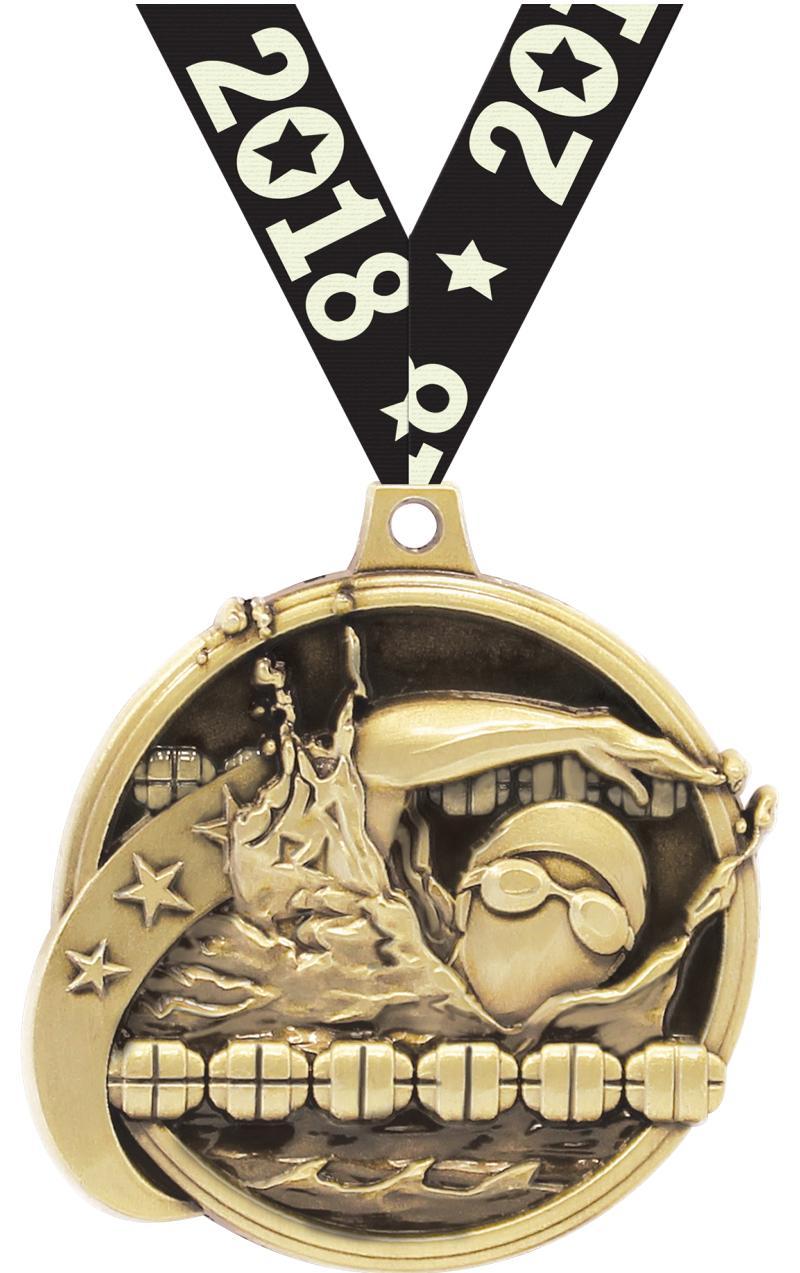 """2"""" KUDOS SWIMMING GOLD MDL"""