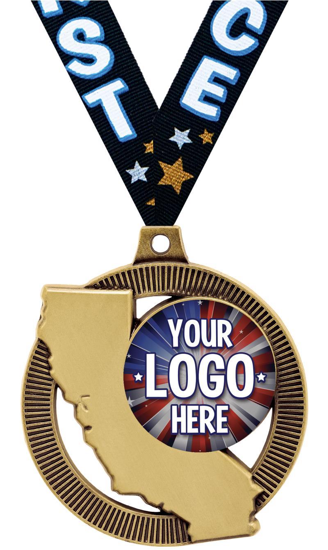 """2"""" California State Insert Medal"""