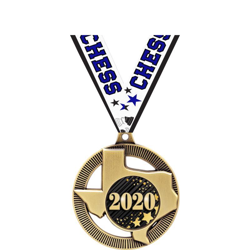 "2"" TEXAS INSERT MEDAL GOLD"