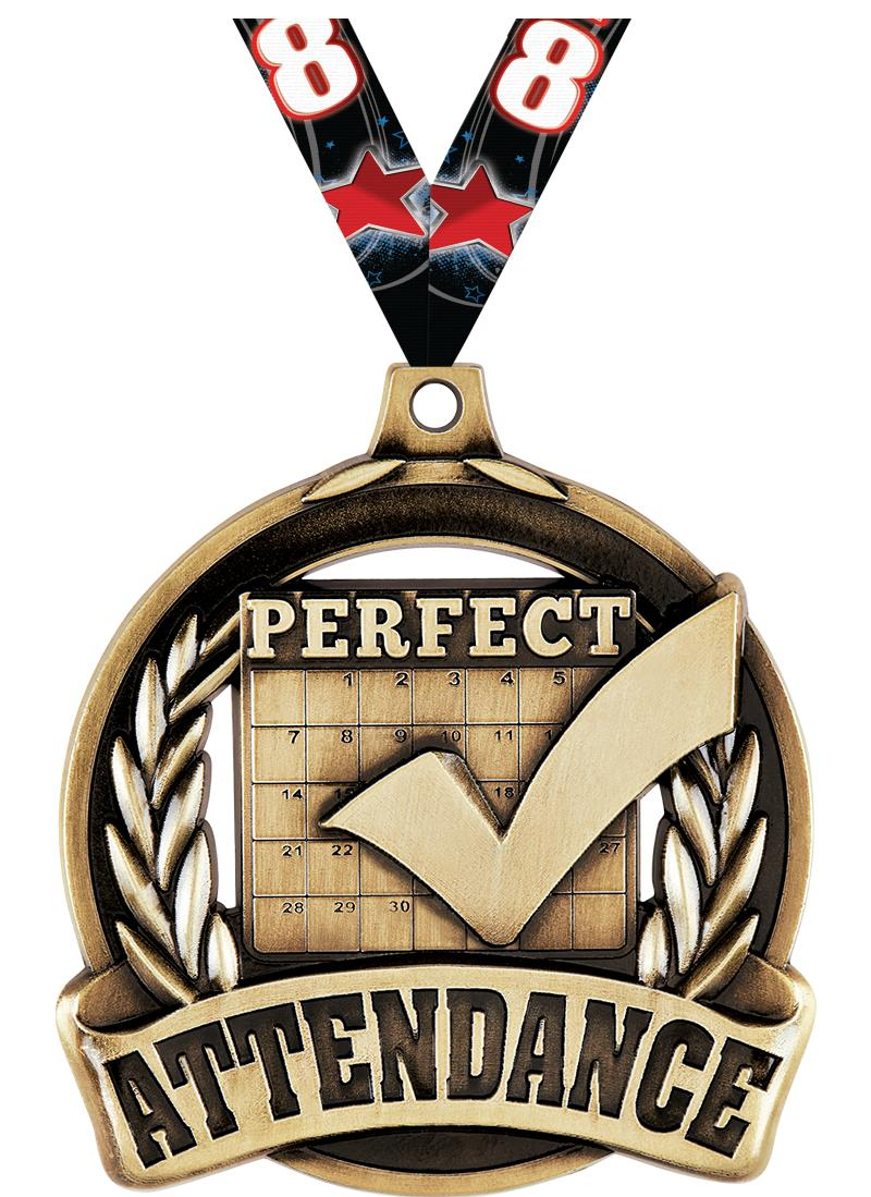 """2"""" PERFECT ATTENDANCE MDL GLD"""