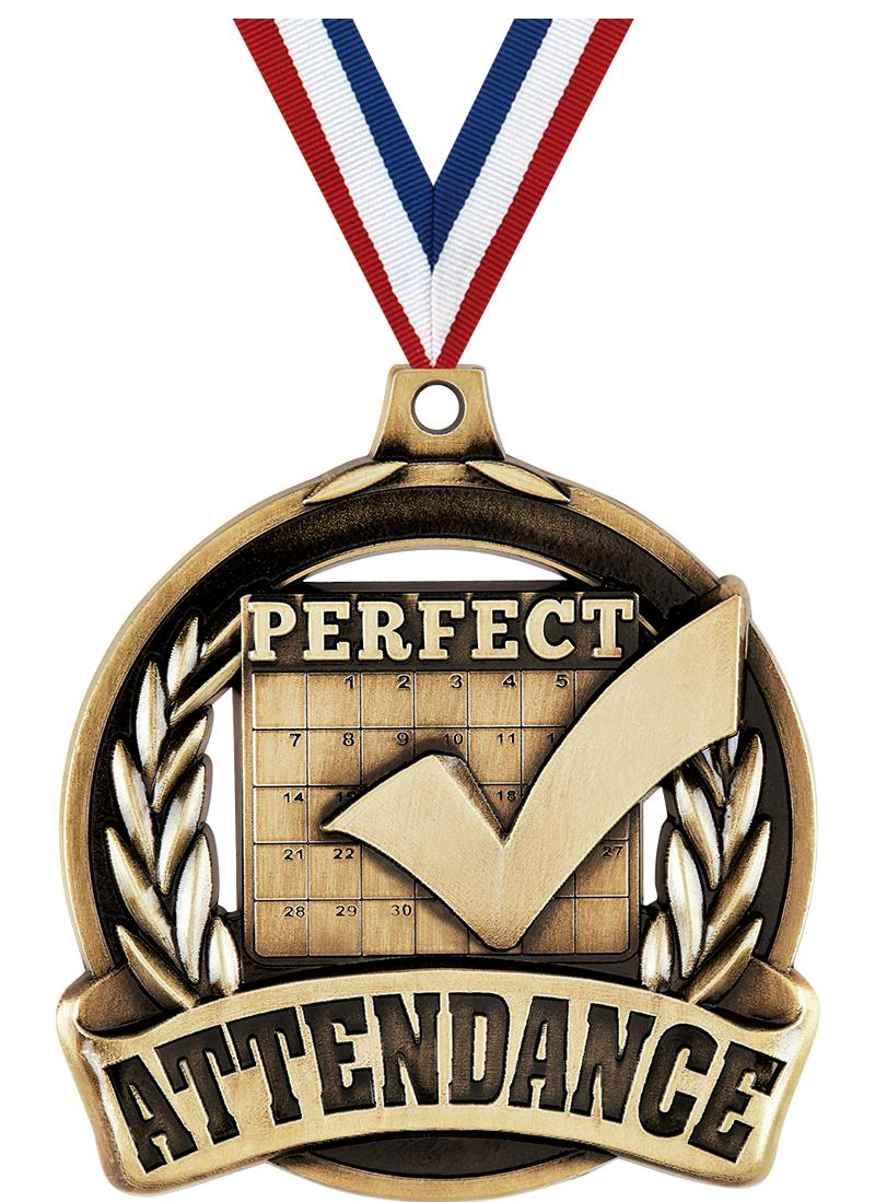 "2"" PERFECT ATTENDANCE MDL GLD"
