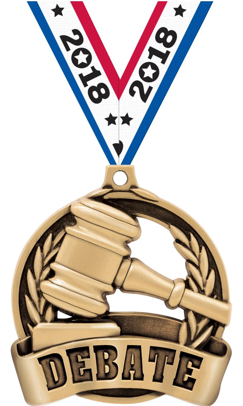 "2"" DEBATE MEDAL GOLD"