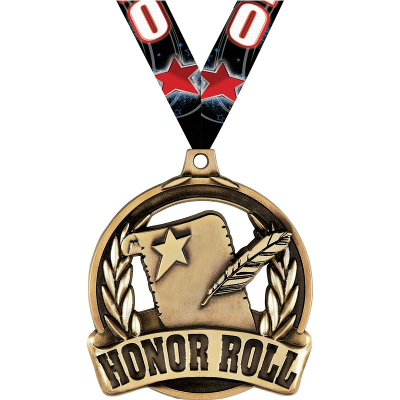 "2"" HONOR ROLL MEDAL GOLD"