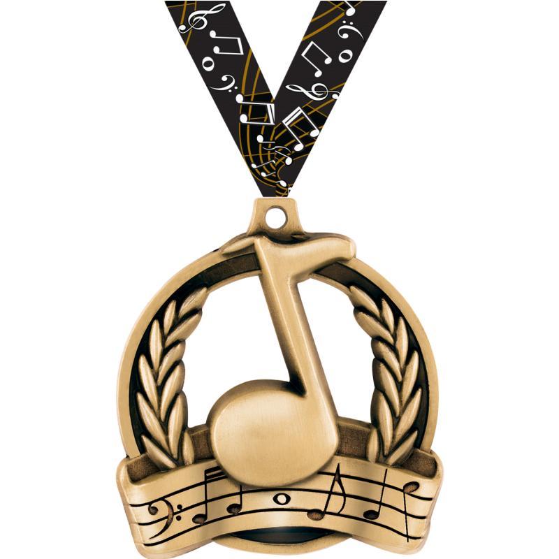 """2"""" MUSIC MEDAL GOLD"""