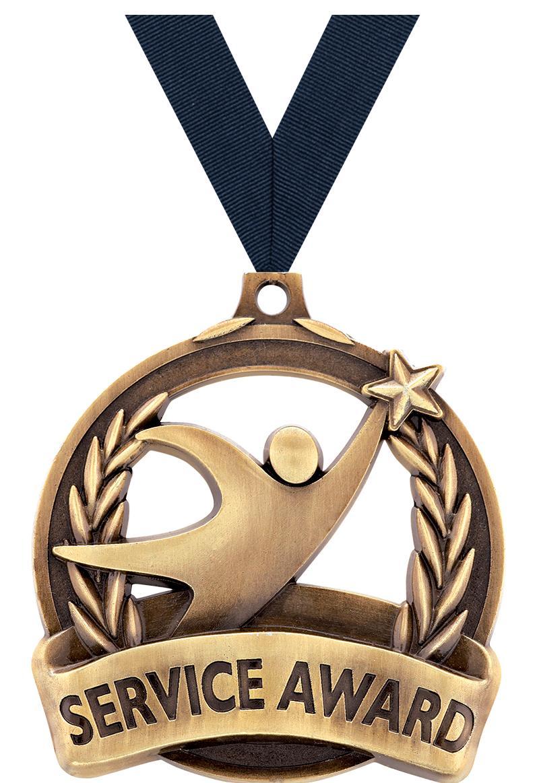 "2"" SERVICE AWARD MEDAL GOLD"