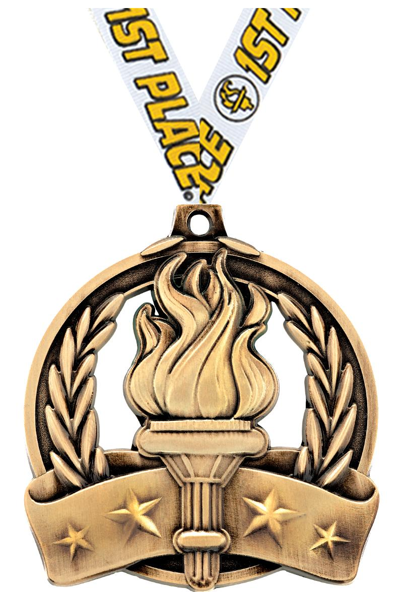 "2"" TORCH MEDAL GOLD"